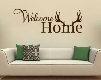 Welcome Home wall decal Living Room Entryway vinyl sticker wall art mural available in 10 different sizes and 30 different colors