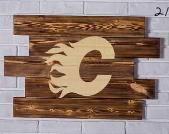 Calgary Flames Wood Sign Calgary Flames Wall art Calgary Flames Gift Calgary Flames Birthday Calgary Flames Party wooden
