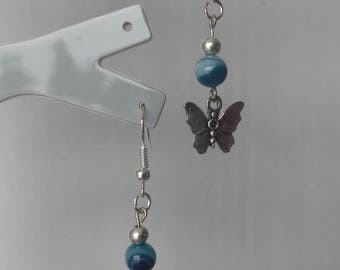 Agate earrings several shades of blue and silver color metal Butterfly