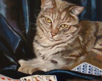 Coup de poker, portrait of a grey cat, Original Oil Painting by Anne Zamo