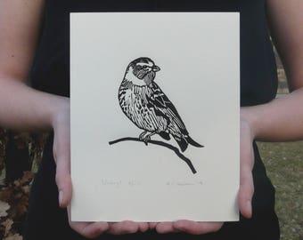 bird linocut print serin