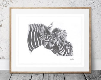 Nursery ZEBRA Mare & Foal African Safari Zoo mother baby Africa Limited Edition art drawing print signed by UK artist