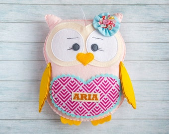 Cute owl Personalized animal Kawaii gift Easter gift Woodland decor Plushie toy Custom gift for girl Pink room Owl baby shower Tooth fairy