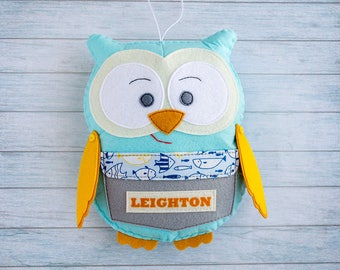 Owl decor Personalized pillow Tooth fairy Boy shower gift Owl decorations Stuffed owls Blue gray room decor Custom nursery Woodland creature