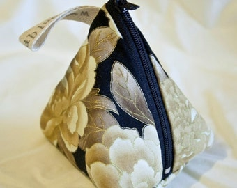 Pyramid Purse - cute coin purse / coin pouch, big enough for loose change, lipstick etc, made from 100% cotton with metallic accent fabric