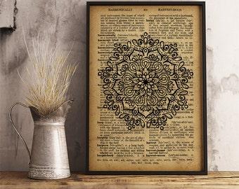 Cute Mandala Poster, Floral Mandala Print, Spiritual wall art (MA34)