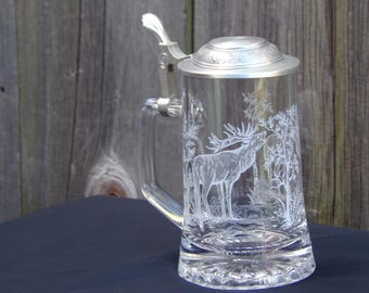 Vintage Etched Glass Elk Stein Glass Beer Stein With Pewter Lid Collectibles Presents for men
