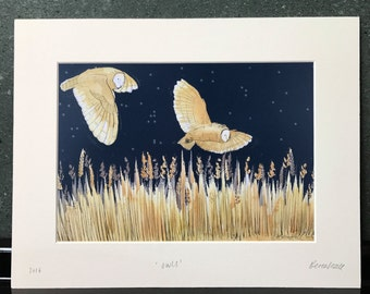 Mounted Print - Owls