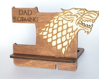 Father's Day Gifts, Personalize Boyfriend Gifts, Stark phone stand, Stark phone dock, iPhone charging station, Got Mens gift