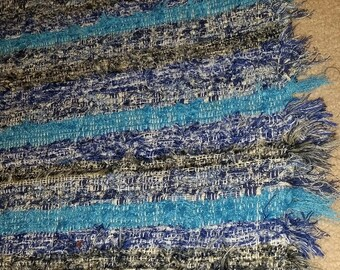 Textured Crazy Rag Rug- handwoven in blues & Grays with sewn edging
