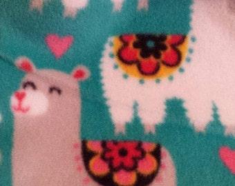 Snuggle Bag  Llama print fleece with grey lining,cuddle bag,fleece sleep sack,guinea pig,rat,hedgehog,ferret,sugar glider,chinchilla,