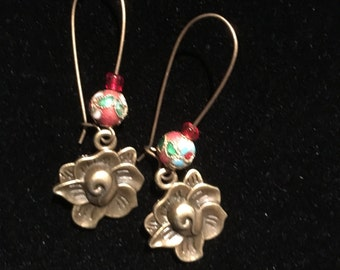 Earrings pink and beads metal color bronze