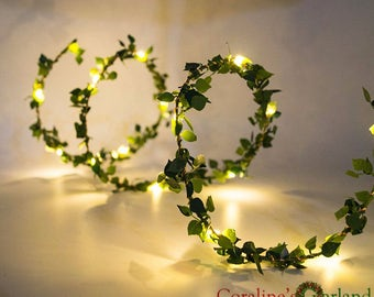 2M 20 LEDs leaf garland battery operated Copper wire LED fairy string lights for rustic wedding decoration summer party holiday