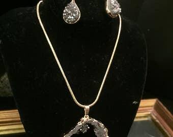 Silver Druzy Necklace