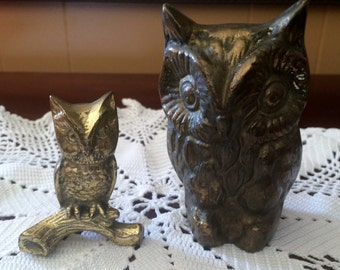 Vintage solid Brass Owl Paperweights, Brass figurines, Brass Paperweights, Home and Living,