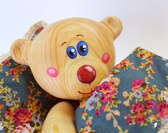 "Personalized Wooden Bear ""Myhasyk II"", Eco-friendly Toy, Handmade Gifts, Wooden Toy"