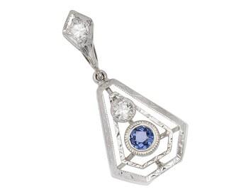 17th Antique Sapphire Diamond Pendant White Gold Art Deco Sapphire Diamond Pendant Geometric Petite Estate Vintage || 17650