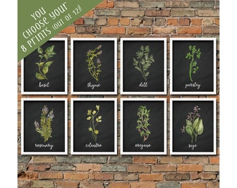 Custom Set of 8 Watercolor Kitchen Herb Printables Herb Print Set Herb Kitchen Wall Art Herb Printables Chalkboard Herb Prints Kitchen Decor