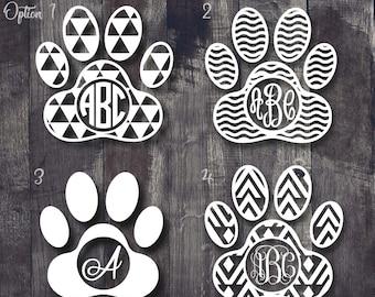 Paw Print Monogram Decal, Paw Print Decal, Aztec Paw Print Monogram, Paw Print Yeti Decal, Dog Print Decal, Car Paw Print Decal, Dog Decal