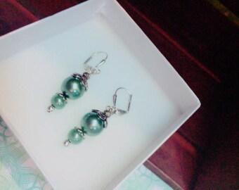 Teal, Blue, Dangle, Earrings, Silver