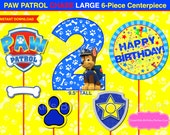 PAW PATROL CENTERPIECE Chase Number 2 Dark Blue. Paw Patrol Printable Centerpiece. Paw Patrol Party Decorations.Paw Patrol Photo Booth Props