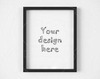 "Clean mock up, Frame mockup, 8x10"", Single black frame, Product mockups, Black and white, Styled stock, Instant download, Vertical frame"