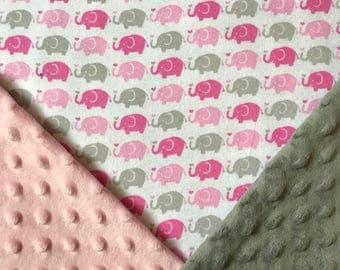 Elephant Baby Girl Blanket, Pink Gray Baby Girl Blanket, Stroller Blanket, Minky Baby Blanket, Toddler Girl Blanket,