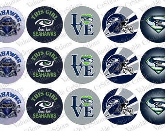 """Seattle Seahawks Bottlecap Images, 1"""" Circle Images, 4x6 Collage Sheet, Football Images, Digital Collage Sheet, Cupcake Toppers"""
