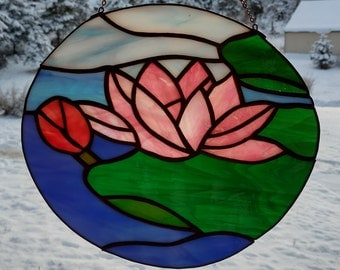 Stained Glass Sun catcher, Waterlily.  Handmade, copper foil with black patina