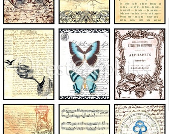 Antique Vintage Backgrounds Digital Collage Sheet A4 Download and Print ATC ACEO Cards Printables Instant download Old cards Tags for print