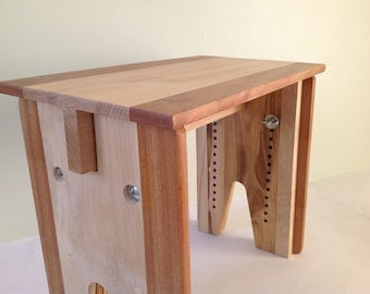 Adjustable height stool, solid wood bench, child's stool, adjustable meditation stool, cello stool, made to order