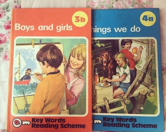 Vintage children's ladybird books, set of 2 vintage ladybird books, vintage ladybird, vintage book collection, Things we do, Boys and Girls.