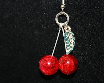 Cherry Earrings Lolita 50's Pin Up Cherry Dangle Red Handmade Cherry Bomb Rockabilly Lolita Dangle Earrings Red Crackle Glass