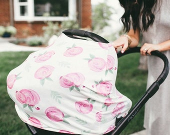 Multi Use Nursing + Carseat Cover + shopping cart cover + baby girl + baby shower gift + pink