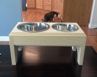 Elevated Pet Feeder,(4cup)and (2cup)Stainless Steel Dishes For Dog,Wooden,Handmade,Raised feeder,2 bowl feeder,Dog feeder