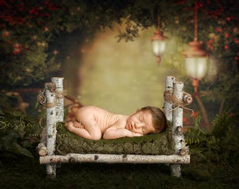 digital backdrop  background newborn baby girl or boy bed green forest jungle
