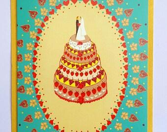 Wedding cake card-Getting married card- Vintage wedding- Congratulations card-Retro style wedding
