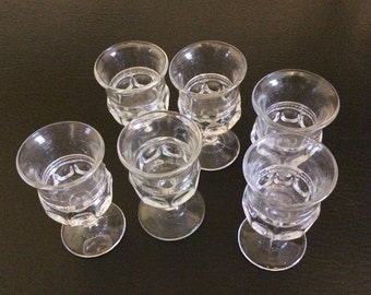 Set of 6 Pressed Glass Cordial or Sherry glasses
