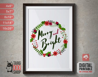"Merry and Bright, Printable Art, Kitchen Poster, Typography Art Print Christmas Decor, 4x6"", 5x7"", 8x10"", 11x14"", 16x20"", Digital Printable"