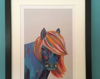 Colourful Shetland Pony Print taken from Acrylic Painting - White or Dove Grey A4 Print, A3 Print or Framed A4