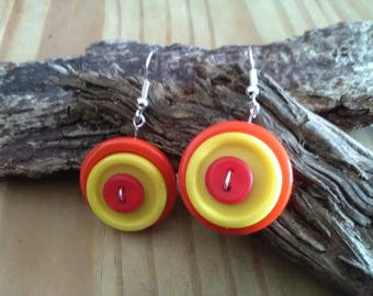 Orange & Yellow Button Dangle Earrings