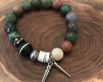 Boho chic beaded stretch bracelet, stack bracelet, tribal bead bracelet, one of a kind stack bracelets
