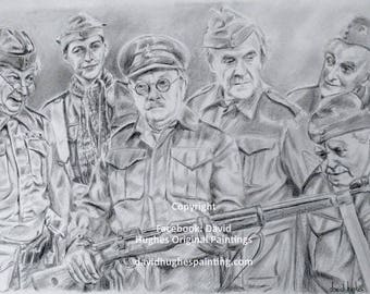 A drawing of some icons! dads army portraits,  drawings graphite, gifts,  icons, bespoke pencil, art, TV character, Famous, celebrity