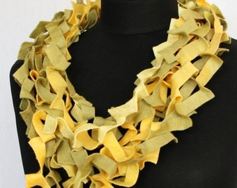 Necklace scarf, made of handgeverfd sheet felt (wool/viscose) in yellow and olive green (KS-023)
