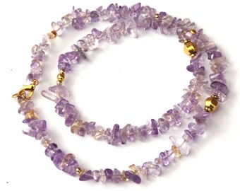 Ametrine necklace - Genuine ametrine gemstone chips - with gold plated beads
