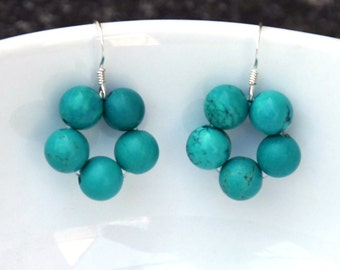 Turquoise earrings - Beaded earrings - Gemstone earrings - gemstone jewelry - sterling silver hooks - round earrings, circle earrings