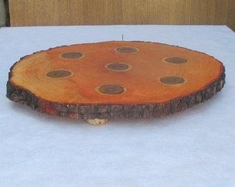 16'' cake stand, Wood Centerpiece, Wood Cake Stand, Large wood platter, Rustic Wood Cupcake stand,Rustic Wedding Decor,Alder slab cake stand