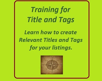 SEO Training, Etsy Relevancy SEO Help, Etsy Listing Help, keyword help, Title and Tags,