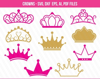 Crowns SVG cutting files, Crown clipart, Crown svg, Princess crown svg, Crowns, Crown vector, Cricut - Digital download - EPS,Ai,Svg,dxf,pdf