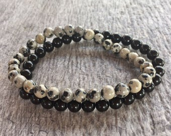 Beaded Stack Bracelet – Yoga Beaded Stretch Bracelet – Black Onyx and Dalmatian Jasper